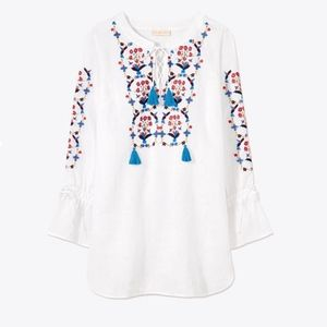 Tory Burch Embroidered Tunic Top Wildflower Large